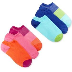 Hue 6 Pair Cotton No Show Liner Athletic Socks